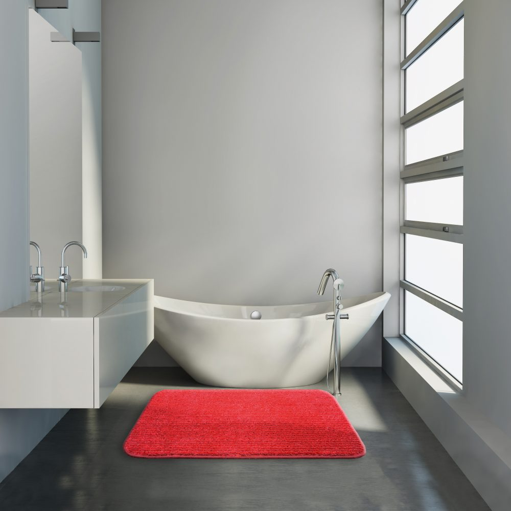 Minimal contemporary grey bathroom with bathtub and sink